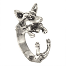 Kinitial 1Pcs Antique Silver Bronze Wolf Boho Chic Welsh Corgi Dog Ring Animal English Dog Ring Hippie Knuckles Rings for Women
