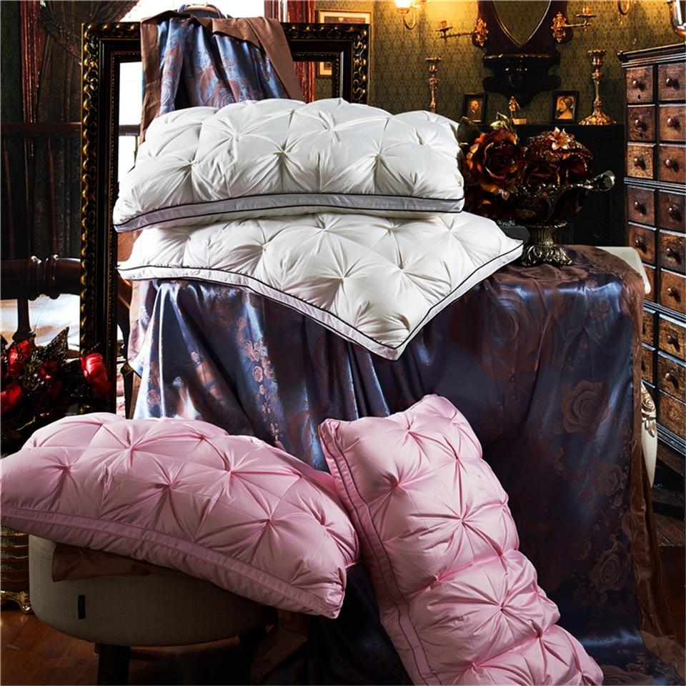 BeddingOutlet Five-Star Hotel Goose Feather Pillow Solid Color Luxury 100% Cotton Soft Bedding Down Pillow Neck Health 48cmx74cm<br>