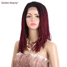 14-16inch Bob Synthetic Lace Front Wig with Baby hair Colored Box Braid Wigs for Women Golden Beauty(China)