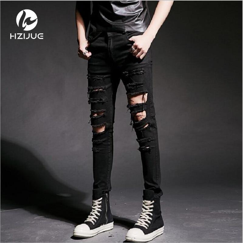 High Quality Design Fashion Men Biker Jeans Slim ripped Straight Denim  Jeans Men Elastic Skinny Mens Motorcycle JeansÎäåæäà è àêñåññóàðû<br><br>