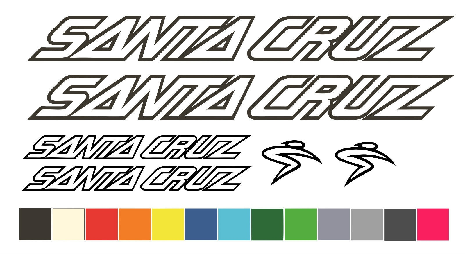 "Santa cruz 7/""x1/"" Vinyl decal weather proof 2 bike stickers many colors"
