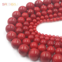 Free Shipping 4 6 8 10 12mm Round  Red Sea Bamboo Coral Gems Natural Coral Jewelry Beads 15""