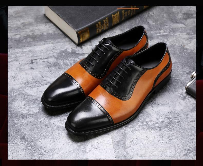 Mens Oxfords Shoes Leisure Casual Genuine Leather Wedding Dress Shoes For Men Business Brogues Shoes Moccasins Square Toe Shoes Shoes Men's Shoes