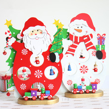New Arrival XMAS Gift 1pc Mini Table Decoration Wood Christmas Snowman/Santa with Ornament X'mas Cute Snowman/Santa Decoration(China)