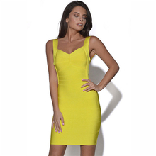 Buy Plus size Backless spaghetti strap HL bandage bodycon dress sexy night club wear open back ladies yellow v neck party mini dress for $16.44 in AliExpress store