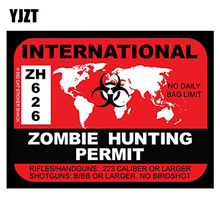 YJZT 17x12.9CM Personality International ZOMBIE Hunting Permit Retro-reflective Car Sticker Motorcycle Decals C1-8055(China)
