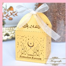 2017 Hot Sale 50pcs\Lot Ramadan Festival Decoration Supplies Customizable Wonderful Design Laser Cut Favor Box With Free Ribbons