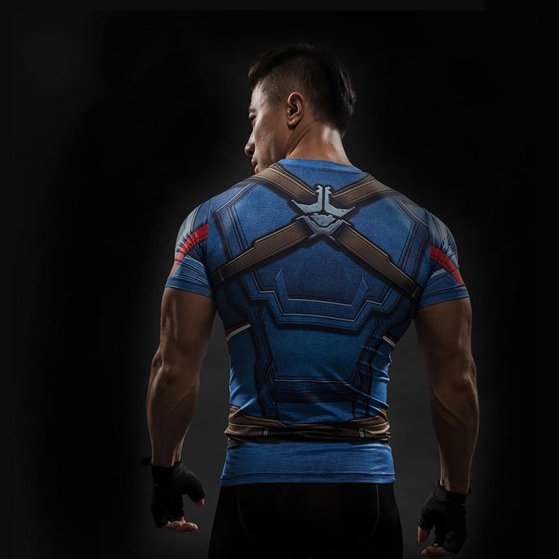 Short Sleeve 3D T Shirt Men T-Shirt Male Crossfit Tee Captain America Superman tshirt Men Fitness Compression Shirt Punisher MMA 18