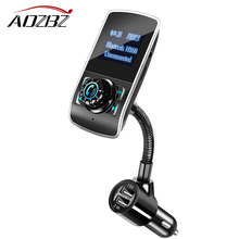 Aozbz FM Transmitter modulator 360 Degrees Rotate 3.1A Dual USB LCD Bluetooth Car Kit MP3 Player Hands-free Call Car Charger USB(China)
