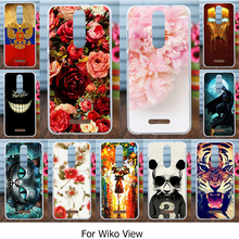 AKABEILA Silicone Cover Case For Wiko View 5.7 inch Case Flexible TPU Back Cover Painted Rose Cats Mobile Phone Bags(China)
