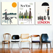 3pcs 12x16, 18x24 inches print abstract home decor wall art painting on canvas print PARIS,NEW YORK, LONDON city poster picture