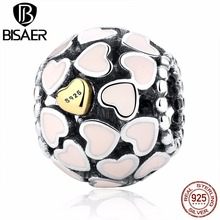 BISAER 100% Real 925 Sterling Love Pink Enamel Gold Heart Charm Beads fit Original Pandora Charm Bracelet Authentic Jewelry Gift