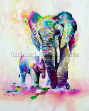 X Series New Arrival High Quality Elephant Oil Painting On Canvas Mother and Kid Oil Painting For Wall Artwork Decoration