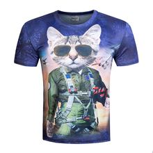 Unisex 2017 New Fashion Men Brand T-shirt Funny Print Super Power The cat sheriff/Dogs Pug /wolf 3D T shirt Tops BIANYILONG