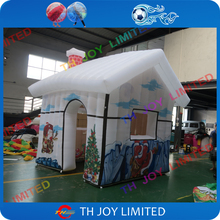 free shipping!3mLx3mWx2.5mH full printing new inflatable Christmas santa house , santa grotto for Christmas day decoration