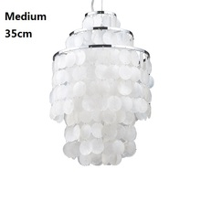 Natural Shell Dining Room Pendant Lamp White Contemporary Light Fixtures Lampen Art Suspension Luminaire 110 220V Home Lighting
