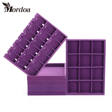 Free Shipping purple Velvet Necklace Ring Display Tray Jewelry Accessories Case Necklace Pendants Plate Jewelry Organizer Box