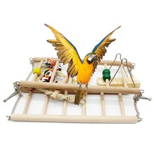 Birds Toys Bridge Pet Toy Climb Ladder Woodiness Swing Rings Cockatiel Parrot Cotton Rope Toys Stand Platform Accessories