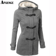APOENGE Womens Hoodies and Sweatshirts 2017 Autumn Winter Female Hooded Warm Overcoat Zipper Horn Button Long Coat moletom QN391
