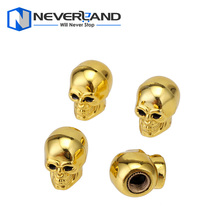 Gold Skull Car Bike Cool Tire air Valve Stem Caps Wheel Rims Dust Cover Motorcycle Motorbike Valve Caps 4 Pcs Free Shipping D15