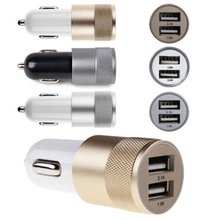 NEW Micro Auto Universal Alloy Bullet 12V 2.1A 2 Port Usb Car Charger Adapter Cable For iPhone ipad Samsung Mobile Cell Phone