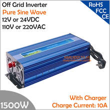 1500W Off Grid Inverter with Charger, Surge Power 3000W DC12V/24V AC110V/220V Pure Sine Wave Power Inverter with charge function