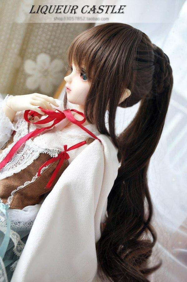 Handsome High Ponytail BJD Doll WIG for 1/6(17cm),1/3(23cm) SD Brown/Black<br>