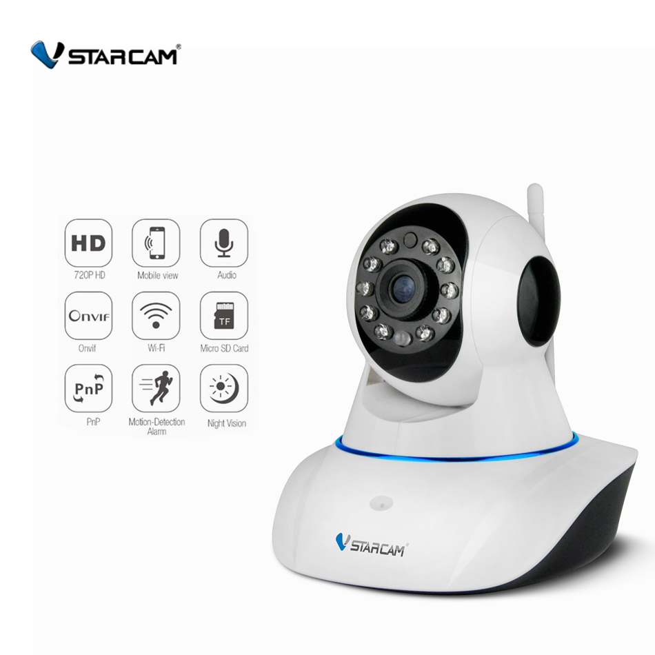 VStarcam C7825WIP=C25 720P HD Wifi IP Camera P/T Memory storage IR-Cut Night Vision Audio record Indoor Security Camera Wireless<br>