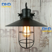 Free shipping sample order black iron shade vintage wall lamp Nordic creative retro iron cage glass telescopic folding iron lamp