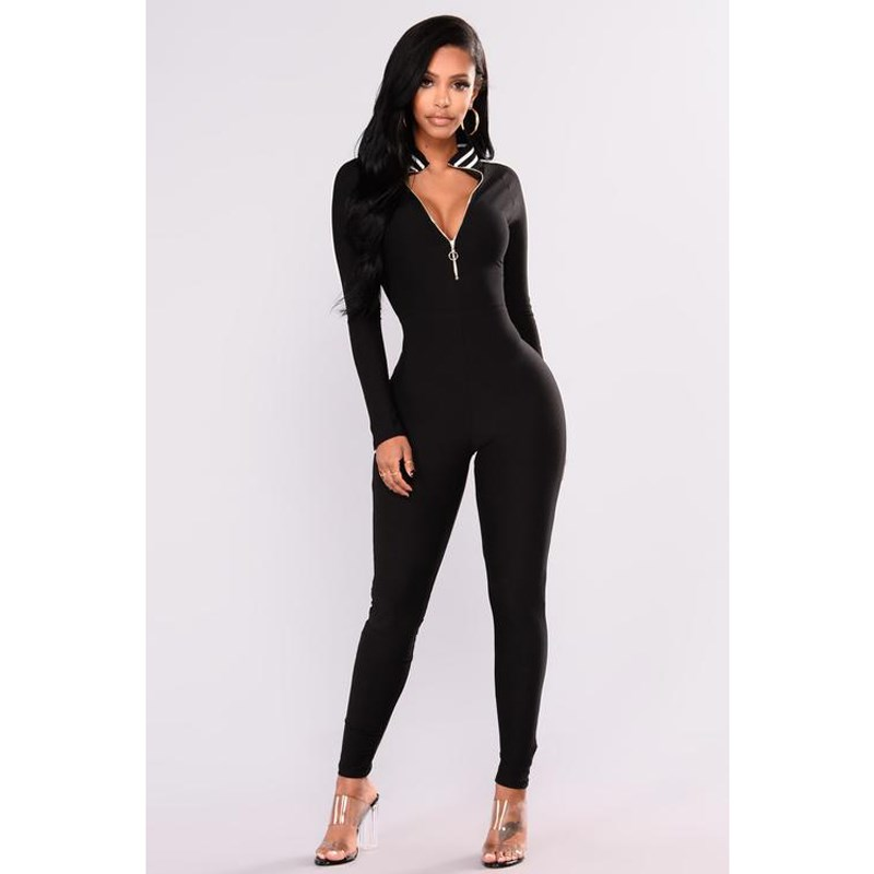 2018 Casual Fitness Rompers Womens Jumpsuit Sportswear Playsuit Long Sleeve Skinny Stripe Sexy Bodysuits Front Zipper Jumpsuits