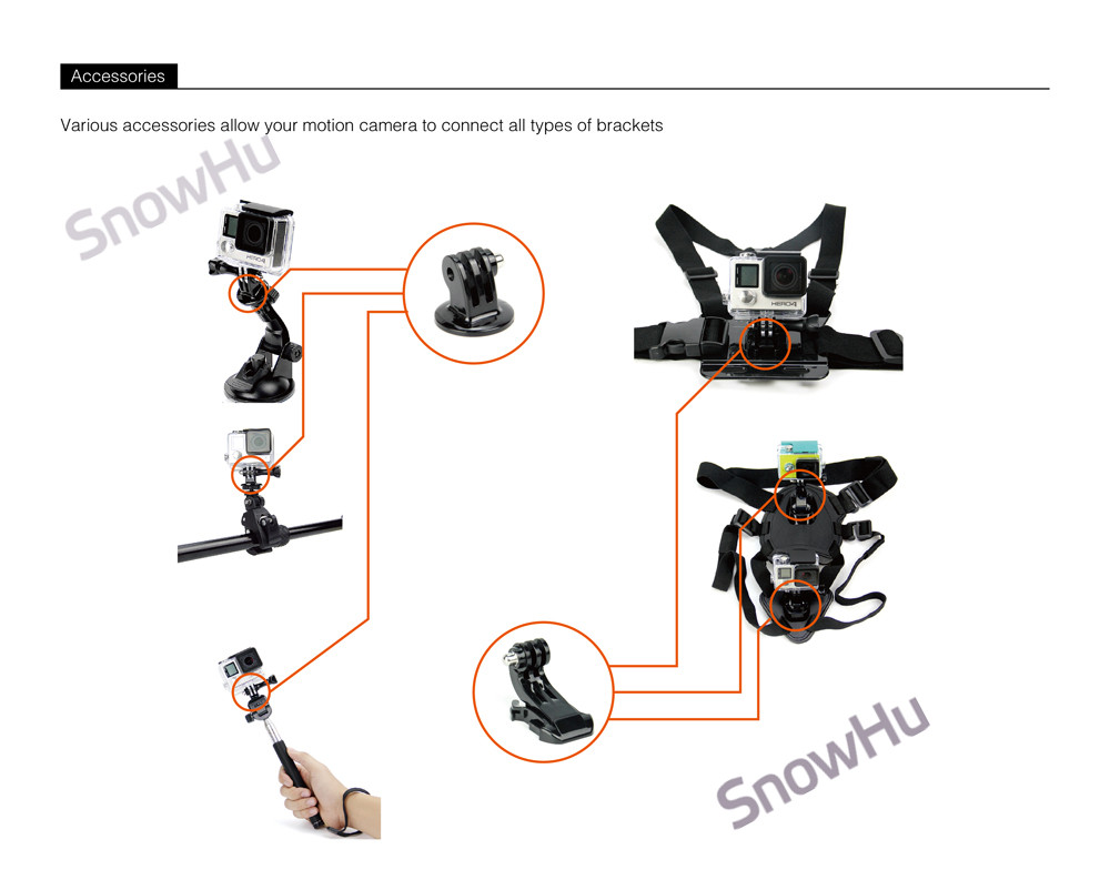 SnowHu For Gopro Accessories Set Helmet Chest Mount Strap for Go pro Hero 5 4 3 3+ accessories xiaomi yi camera EKEN H9 H9R GS18