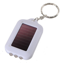 PROMOTION!10X Mini Solar Power Rechargeable 3LED Flashlight Keychain - White