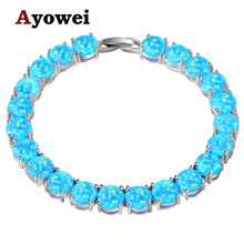Ayowei alibaba-express blue Fire Opal 925 Silver Stamped Charm Bracelets Women party pulseras OBS073A(China)