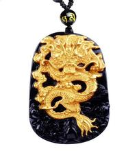 18K 999 Pure Yellow Gold Inlay Natural Obsidian Black Jade Pendant Dragon Necklace Sweater Chain Jewelry Gift Wholesale(China)