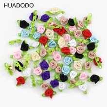 HUADODO 100pcs Satin Ribbon Roses Flower heads Handmade DIY Fabric Flowers for Scrapbooking Wedding Party Craft Decoration(China)