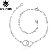 HOT SEXY A005  CYPRIS Jewelry silver Anklet Figaro Chain Circle Pendant foot Bracelet women lady double loop High Quality