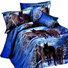 4pcs Bright Color Bedding Set 3D Animal Wolf Printed Quilt Cover + Sheet + 2pcs Pillowcase Super soft Comfortable Cover Set