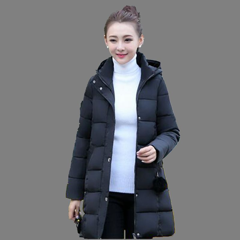 2016New Winter Women Coat Korea Fashion Thicken Down Cotton Jacket Elegant Pure color Warm Hooded Big yards Medium long CoatG979Одежда и ак�е��уары<br><br><br>Aliexpress
