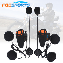 2pcs Fodsports 30M IPX7 Waterproof Moto Helmet Wireless Headset Motorcycle bluetooth intercom for motorcycle BT-S2 with FM