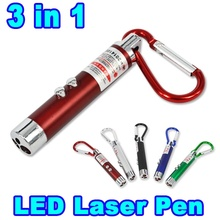 2 In1 Red Laser Pointer Pen With White LED Light Show Funny Pet stick Childrens Cat Toy Random Color