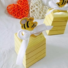 20pcs/lot Yellow Bee honey Favors Candy Boxes Gift Box with White Ribbons for Baby Shower/Birthday Favors and Gifts Kids Party