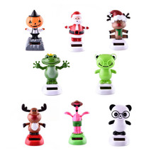 Solar Power Shaking Head Panda Frog Shake Head Cute Animals Toys For Car Interior Ornaments Car-Styling(China)