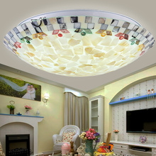 Mosaic Glass Ceiling Light Natural Shell Lamp Mediterranean Kitchen Bathroom Product Living Room Luminaire E27 110-240V CM049