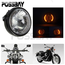 POSSBAY 35W H4 Motocicleta Halogen Headlight Turn Signal Light Amber For Z750 ER6N Z1000 Cafe Racer Chopper Motorcycle Headlamp