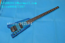 free shipping new headless electric bass guitar with sticking tiger stripes basswood body  F-2098+foam box