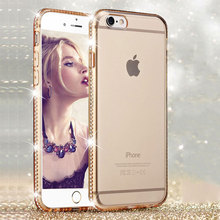 Rhinestone Silicone Phone Case For iPhone 6 6S 7 Plus 5 S 5S SE Luxury Glitter Bling 3D Diamond Edge Cover Case Gold Pink Fundas