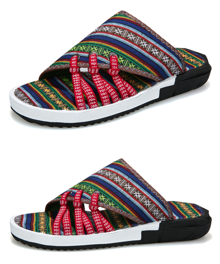 Fashion National style Men Slippers Casual Male Cotton Fabric Summer Outdoor Beach Shoes Non-slip Indoor Floor Leisure ShoesZ172 11 Online shopping Bangladesh