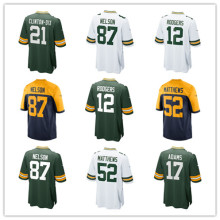 Men's Aaron Rodgers Jordy Nelson Clay Matthews Davante Adam S Brett Hundley Randall Cobb Custom Packers Game Jersey(China)