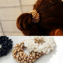 LNRRABC Women Lady Girl Charming  Beads Pearl Hair Head Ring Ponytail Holder Elastic Hair Bands Hair Accessories Gift