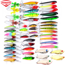 8-50pc Fishing Lures set 50colors fishing bait Mixed Size fishing tackle mixed Minnow Lures/Popper Lures/Pencil-VIB/Crank Lures(Hong Kong)